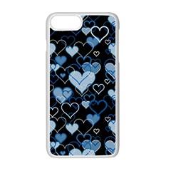 Blue Harts Pattern Apple Iphone 7 Plus White Seamless Case