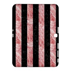 Stripes1 Black Marble & Red & White Marble Samsung Galaxy Tab 4 (10 1 ) Hardshell Case