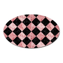 Square2 Black Marble & Red & White Marble Magnet (oval)
