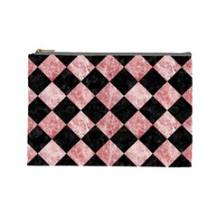 Square2 Black Marble & Red & White Marble Cosmetic Bag (large)
