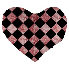 Square2 Black Marble & Red & White Marble Large 19  Premium Heart Shape Cushion