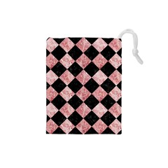Square2 Black Marble & Red & White Marble Drawstring Pouch (small)