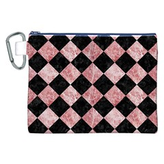 Square2 Black Marble & Red & White Marble Canvas Cosmetic Bag (xxl)