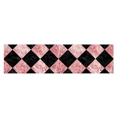 Square2 Black Marble & Red & White Marble Satin Scarf (oblong)