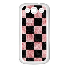 Square1 Black Marble & Red & White Marble Samsung Galaxy S3 Back Case (white)