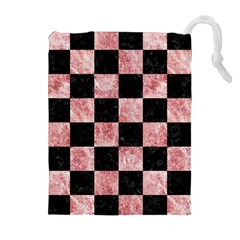 Square1 Black Marble & Red & White Marble Drawstring Pouch (xl)