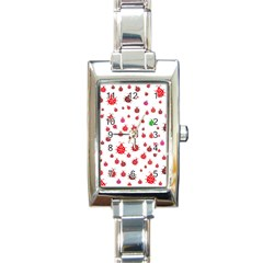 Beetle Animals Red Green Fly Rectangle Italian Charm Watch