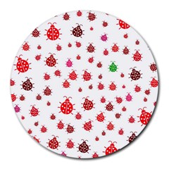 Beetle Animals Red Green Fly Round Mousepads
