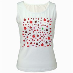 Beetle Animals Red Green Fly Women s White Tank Top