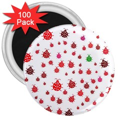 Beetle Animals Red Green Fly 3  Magnets (100 pack)