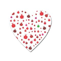 Beetle Animals Red Green Fly Heart Magnet