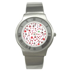 Beetle Animals Red Green Fly Stainless Steel Watch