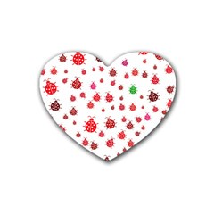 Beetle Animals Red Green Fly Heart Coaster (4 pack)