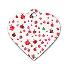 Beetle Animals Red Green Fly Dog Tag Heart (two Sides)
