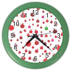 Beetle Animals Red Green Fly Color Wall Clocks