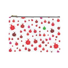 Beetle Animals Red Green Fly Cosmetic Bag (large)