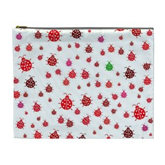 Beetle Animals Red Green Fly Cosmetic Bag (XL)