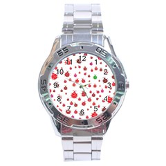 Beetle Animals Red Green Fly Stainless Steel Analogue Watch