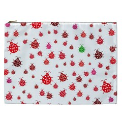 Beetle Animals Red Green Fly Cosmetic Bag (xxl)