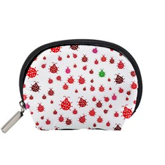 Beetle Animals Red Green Fly Accessory Pouches (small)