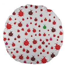 Beetle Animals Red Green Fly Large 18  Premium Flano Round Cushions