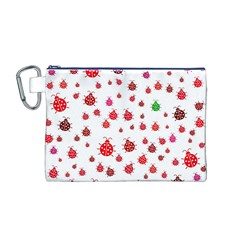 Beetle Animals Red Green Fly Canvas Cosmetic Bag (m)