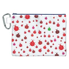 Beetle Animals Red Green Fly Canvas Cosmetic Bag (xxl)