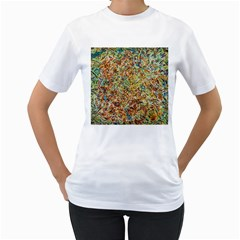 Art Modern Painting Acrylic Canvas Women s T Shirt (white) (two Sided)