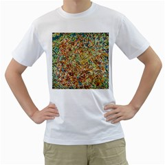 Art Modern Painting Acrylic Canvas Men s T Shirt (white) (two Sided)