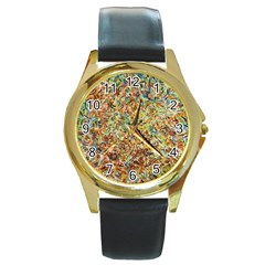 Art Modern Painting Acrylic Canvas Round Gold Metal Watch