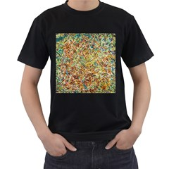 Art Modern Painting Acrylic Canvas Men s T-Shirt (Black) (Two Sided)