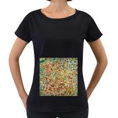 Art Modern Painting Acrylic Canvas Women s Loose Fit T Shirt (black)
