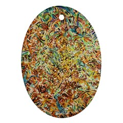 Art Modern Painting Acrylic Canvas Oval Ornament (two Sides)