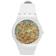 Art Modern Painting Acrylic Canvas Round Plastic Sport Watch (m)