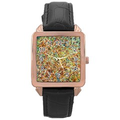 Art Modern Painting Acrylic Canvas Rose Gold Leather Watch