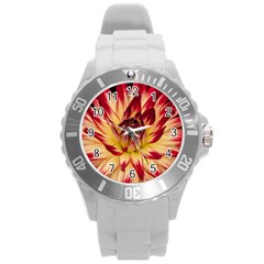 Bloom Blossom Close Up Flora Round Plastic Sport Watch (l)