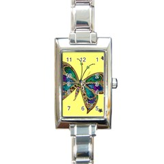 Butterfly Mosaic Yellow Colorful Rectangle Italian Charm Watch