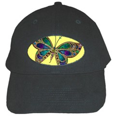 Butterfly Mosaic Yellow Colorful Black Cap