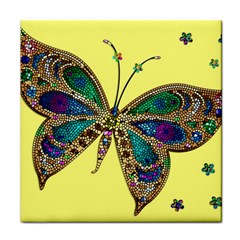 Butterfly Mosaic Yellow Colorful Tile Coasters