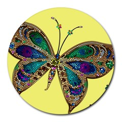Butterfly Mosaic Yellow Colorful Round Mousepads