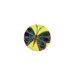 Butterfly Mosaic Yellow Colorful 1  Mini Buttons