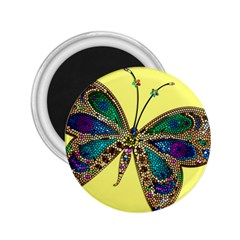 Butterfly Mosaic Yellow Colorful 2 25  Magnets