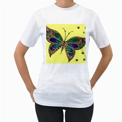 Butterfly Mosaic Yellow Colorful Women s T Shirt (white) (two Sided)