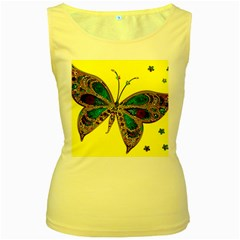 Butterfly Mosaic Yellow Colorful Women s Yellow Tank Top