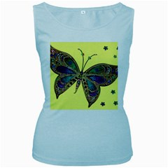 Butterfly Mosaic Yellow Colorful Women s Baby Blue Tank Top