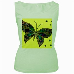 Butterfly Mosaic Yellow Colorful Women s Green Tank Top