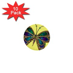 Butterfly Mosaic Yellow Colorful 1  Mini Buttons (10 Pack)