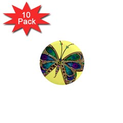 Butterfly Mosaic Yellow Colorful 1  Mini Magnet (10 Pack)