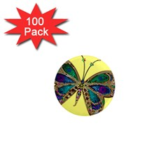Butterfly Mosaic Yellow Colorful 1  Mini Magnets (100 Pack)