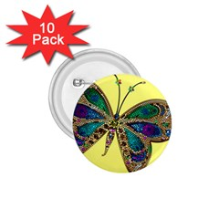 Butterfly Mosaic Yellow Colorful 1 75  Buttons (10 Pack)